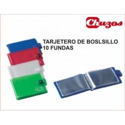 TARJETERO DE BOLSILLO IBERPLAS PVC 10 FUNDAS COLORES SURTIDOS