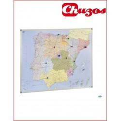 MAPA ESPAÑA Y PORTUGAL CON MARCO DE ALUMINIO