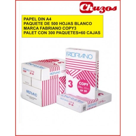 PAPEL A4 80 GR BLANCO 500 HJS FABRIANO COPY 3 PALET 300 PAQUETES
