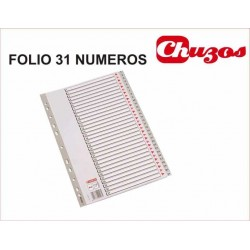 SEPARADOR NUMERICO 1-31 FOLIO NATURAL PVC ESSELTE