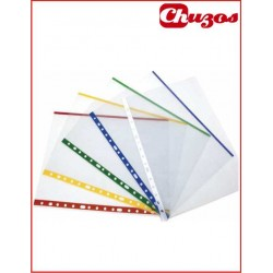 FUNDAS MULTITALADRO FOLIO CON MARGEN COLOR 10 UDS
