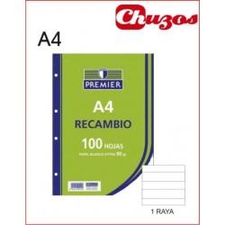 RECAMBIO RAYADO A4 100 HJS 90 GR 4 TALADROS PREMIERE