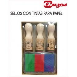 SELLOS MADERA CARAS 3 UDS CON TINTAS ZYX