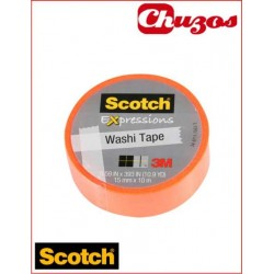 WASHI TAPE NARANJA CLARO 3M SCOTCH 15 MM X 10M