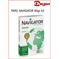 PAPEL A3 NAVIGATOR 80 GRS 500 HJS BLANCO
