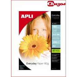 PAPEL FOTO A4 APLI EVERYDAY BRILLO 180 GR TINTA 10 o 100 HJS
