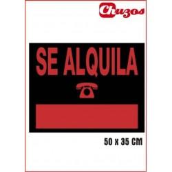 CARTEL SE ALQUILA 50 X 35 CM