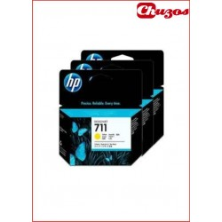 CARTUCHO TINTA HP 711 YELLOW ORIGINAL CZ136A PACK 3 UDS