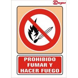 SEÑAL PROHIBIDO FUMAR Y ENCENDER FUEGO PVC 21 X 29,7 CM