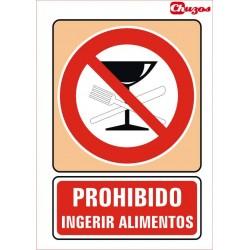 SEÑAL PROHIBIDO INGERIR ALIMENTOS PVC 21 X 29,7 CM