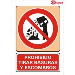 SEÑAL PROHIBIDO TIRAR BASURAS Y ESCOMBROS PVC 21 X 29,7 CM