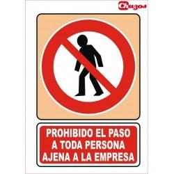 SEÑAL PROHIBIDO EL PASO TODA PERSONA AJENA A LA EMPRESA PVC 21 X 29,7 CM