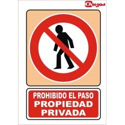 SEÑAL PROHIBIDO EL PASO PROPIEDAD PRIVADA PVC 21 X 29,7 CM