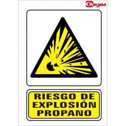 SEÑAL RIESGO EXPLOSION PROPANO PVC 21 X 29,7 CM
