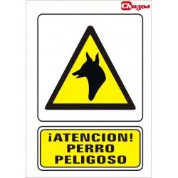 SEÑAL ATENCION PERRO PELIGROSO PVC 21 X 29,7 CM