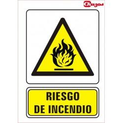 SEÑAL RIESGO DE INCENDIO PVC 21 X 29,7 CM