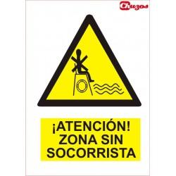 SEÑAL ATENCION ZONA SIN SOCORRISTA PVC 21 X 29,7 CM