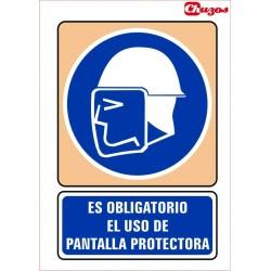SEÑAL ES OBLIGATORIO EL USO DE PANTALLA PROTECTORA PVC 21 X 29,7 CM