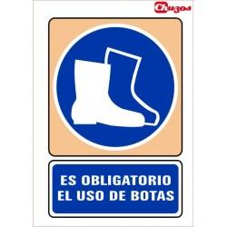 SEÑAL ES OBLIGATORIO EL USO DE BOTAS PVC 21 X 29,7 CM