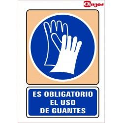 SEÑAL ES OBLIGATORIO EL USO DE GUANTES PVC 21 X 29,7 CM