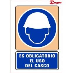 SEÑAL ES OBLIGATORIO EL USO DEL CASCO PVC 21 X 29,7 CM