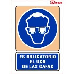 SEÑAL ES OBLIGATORIO EL USO DE GAFAS PVC 21 X 29,7 CM