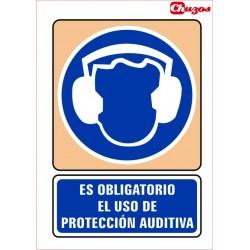 SEÑAL ES OBLIGATORIO EL USO DE PROTECCION AUDITIVA PVC 21 X 29,7 CM