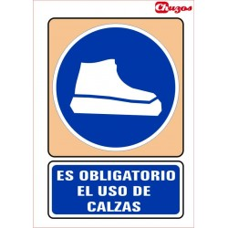 SEÑAL ES OBLIGATORIO EL USO DE CALZAS PVC 21 X 29,7 CM