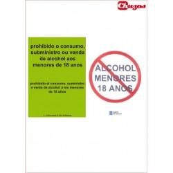 SEÑAL PROHIBIDA LA VENTA DE ALCOHOL PVC 21 X 29,7 CM APAISADO