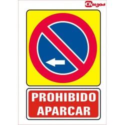 SEÑAL PROHIBIDO APARCAR IZQUIERDA PVC 21 X 29,7 CM