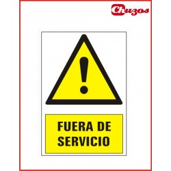 SEÑAL FUERA DE SERVICIO PVC 21 X 15 CM
