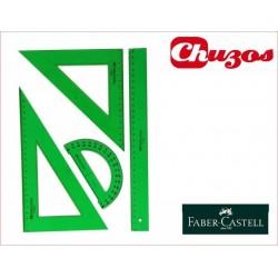 SET FABER CASTELL REGLA DIBUJO CARTABON, ESCUADRA Y TRANSPORTADOR REF 65021